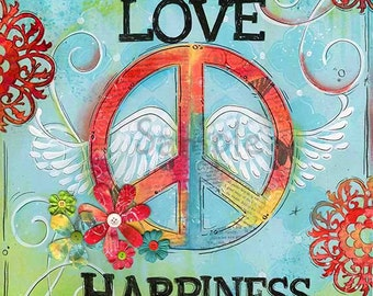 love peace happiness childrens wall art teen art peace girls room - Teen Wall Decor