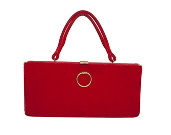 Red Handbag,  Red Velvet Purse, 1950s Structured Handbag by Markay Bags, Mid Century