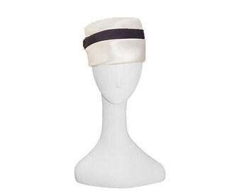 White Satin Hat, Navy Hatband, 1950s Toque, Vintage Turban, Tall Hat, Hat Size 21
