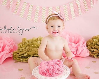 Pink and Gold Banner, First Birthday Cake Smash, Pink Dots Gold Chevron Fabric Strips, Baby Shower, Wedding Shower Pink Gold fabric banners