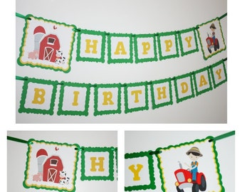 Farm Party Red Barn & Tractor Banner, Birthday Party Banner, Happy Birthday Banner, READY TO SHIP, Farm Animals Birthday Party Decorations