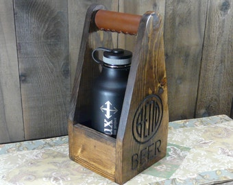 Single Growler Holder Bend Oregon Weekend Brew Carrier - Craft Crate Beer Ale Brewery - Pine Wood Leather Grip Ebony Stain