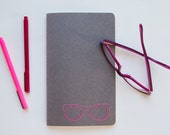 daily frames journal. embroidered Moleskine in bubble gum and heather grey.