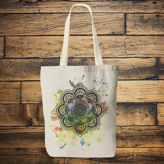 MANDALA TOTE BAG -Yoga bag -Mandala- Hippie bag- Screen print- Back to school- Yoga- Tote Bag- Student- Vintage- Stocking Filler- Christmas