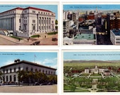 Denver Colorado Postcards Lot of 4 U.S. Mint, Birdseye View, Post Office, Civic Center, Vintage 1930s Linen Souvenir Post Cards, Unused