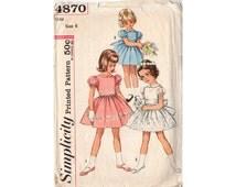Vintage 1960s Girls Size 6 Dress Sewing Pattern Simplicity 4870 Short Puff Sleeve Dress Tied Waist One Piece Dress, Bust 24, Waist 22