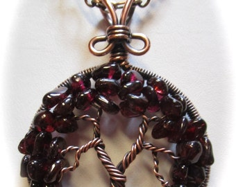 January Birthstone Tree of Life Pendant, Garnet Gemstones set in Antiqued Copper Wire Wrapped Tree of Life Pendant
