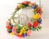 Rainbow Flower Crown, Rustic Floral Headband, Backyard Wedding Crown, Hippie Festival Hair Piece, Bridesmaid Head Wreath, Boho, Frida Kahlo