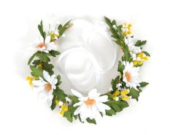 Daisy Flower Crown Head Wreath Floral Headband Rustic Wedding Hair Piece Daisy Headpiece Bridal Head Piece White Yellow Wattle Indie Bride