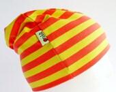 Jersey Hat - Crimson and Yellow Stripes - Marimekko Beanie