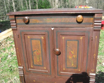 Antique Cottage Style Hand Painted Sweet Commode/Cabinet