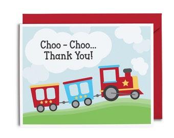 Choo-Choo Thank You Card - Train Greeting Card - Kids Greeting Card - Kids Thank You Card - Train Thank You Card
