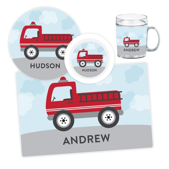 Il_570xn  sc 1 st  Catch My Party & Fire Truck Plate Bowl Mug or Placemat - Fire Truck Dinnerware Set ...