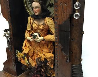 Creepy vintage gypsy assemblage art doll shadow box with antique clock box