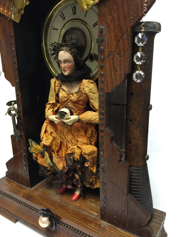 Creepy Vintage Gypsy Assemblage Art Doll Shadow Box With