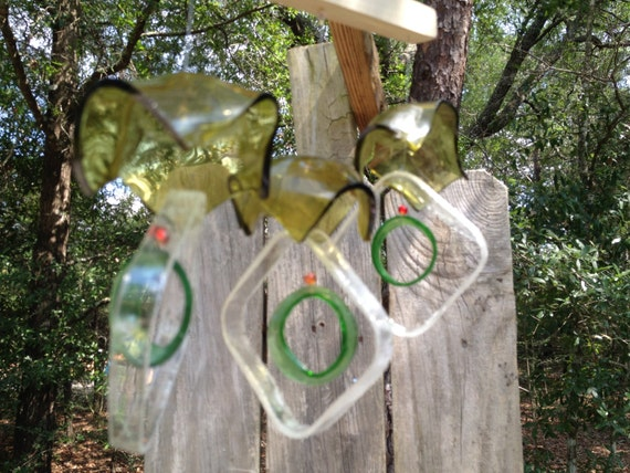 Glass MOBILE from RECYCLED bottles, eco friendly, yellow clear green, garden decor, mobiles, windchimes, glass wind chimes, glass