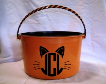 Personalized Halloween Bucket Vinyl Decal