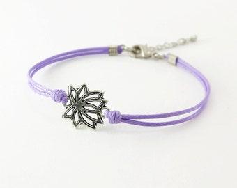 Lotus Bracelet, Lilac Cord Bracelet, Flower Bracelet, Yoga Bracelet, Friendship Bracelet