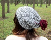 Womens Slouchy Hat Pompom Beanie Knit Ladies Hats Knitted Beanies Etsy Cap Gray Warm Accessories Winter Burgundy Knits Handmade Gifts Grey