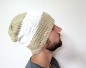 Mens Striped Hat Knit Slouchy Beanie for Guys Oversized Hats Knitted Winter Beanies Warm Grunge Accessories for Men Taupe White Knitwear