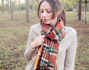 Large Blanket Scarf Plaid Oversized Scarves Flannel Accessories Warm Winter Fashion Etsy Bulky Scarfs Oversize Orange Womens Tartan Scarf