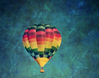 Hot Air Balloon print / Surreal photograph / Colorful wall art / Nursery decor
