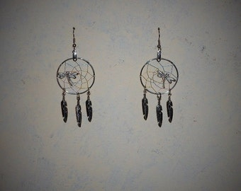 Handcrafted dragonfly Dreamcatcher earrings