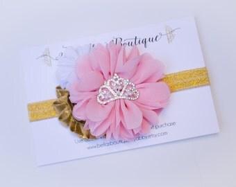 Pink Gold Birthday PrincessFlower w/ Rhinestone Center Headband - Photo Baby Toddler Child Girls Headband Hair