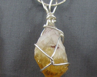 Natural Citrine wirewrapped necklace ,heallin, For prosperity