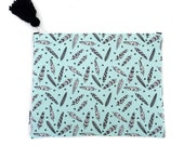 Nappy Clutch Diaper Clutch Turquoise Feathers