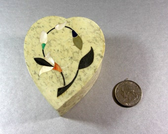 Heart Shaped Marble Trinket Ring Box Mother of Pearl Inlay