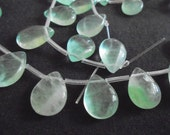 F** Fluorite Green Natural Teardrop Shaped - Top Drilled - Jewelry - Gemstone - Precious Gems - Approx. 25 Beads - Smooth Bead - Beads