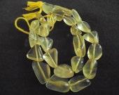 Q** Genuine Lemon Quartz (Heated) - Medium to Large Flat Smooth Nuggets - 14 Inch Strand - Approx. 24 Beads - Gemstone - Precious Gems