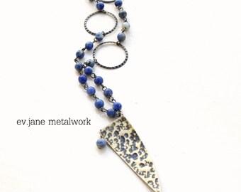 Sodalite Brass Triangle Pendant Necklace Rozario Hand Cut Hand Textured Boho Hippie Ethnic Beaded
