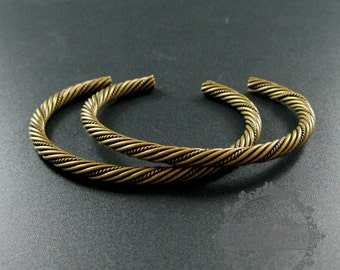 5pcs 60mm vintage style antiqued bronze plated thick twisted adjustable bangle bracelet supplies findings 1900142