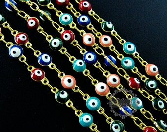 2 meters 5mm red,pink,green,blue enameled round Turkish evil eye beads links gold plated brass  necklace chain DIY  findings 1315012