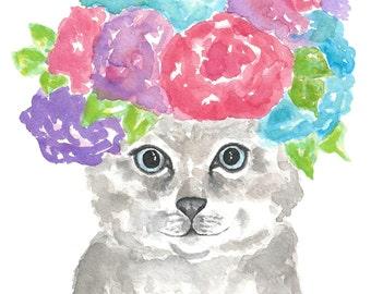 Watercolor painting, watercolor flowers, watercolor cat, watercolor animals, cat art, flower crown, original watercolor art, cat lover