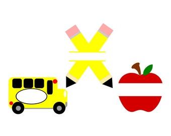 SVG - Back to School Set - DXF - School - Apple - Pencil - School Bus - Monogram - Pencil Split SVG - Apple Split - School Design