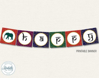 PRINTABLE PARTY BANNER -- Golden Indian Party Collection (Customizable) -- Mirabelle Creations