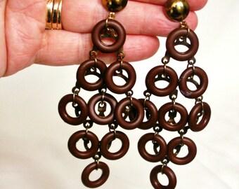 Funky Hippie Boho Vintage Wooden Circles Dangle Pierced Earrings