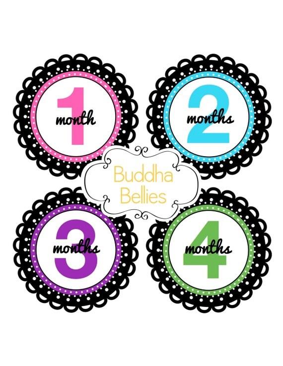 Baby Girl Month Stickers Newborn Baby Girl Gift Monthly Baby Stickers Bodysuit Stickers Babyvest Stickers Baby Decals
