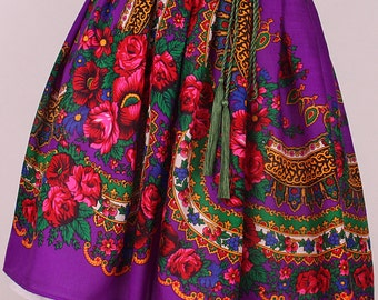 Etno Royal Purple Skirt , Gipsy Skirt , Flower print Skirt , Folk Gipsy Skirt