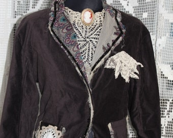 Bohemian Jacket Brown Velvet Upcycled Jacket Doily and old Cameo