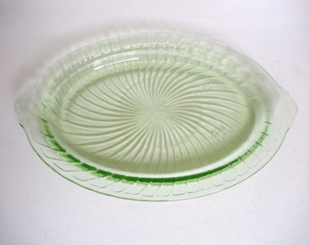 Vintage 30-40s Anchor Hocking Vaseline Glass Light Green Oval Serving Platter