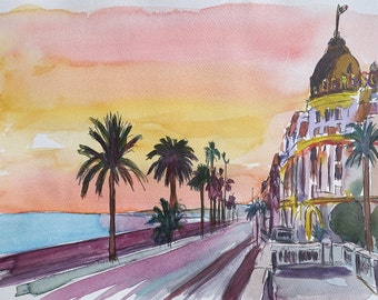 Nice France Seaview Boulevard at Sunset - Limited Edition Fine Art Print - Original Painting available