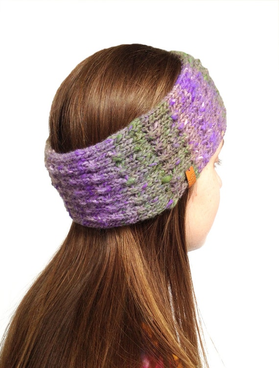 Hippie Headband Knitting Pattern : Ear Warmer Boho Knitted Headband Hand Knit Boho Ear by LizSox