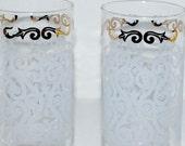 Blizzard sale vintage Libbey glass tumblers etched glasses  hi ball  vintage barware