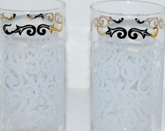 Sale vintage Libbey glass tumblers etched glasses  hi ball  vintage barware