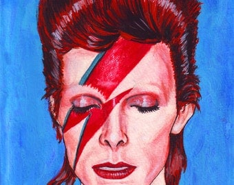 David Bowie print of original painting 8x10