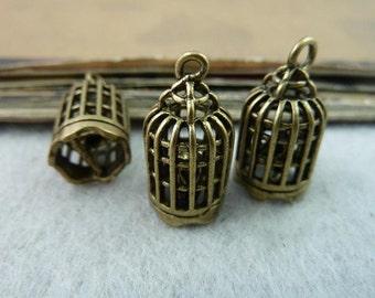2pcs 21*11mm antique bronze birdcage  3D charms pendant C6490